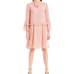 Max Studio London Check Ruffled Button Shift Dress